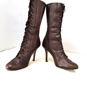 Jill Stuart Brown Leather High Heel Granny Boots
